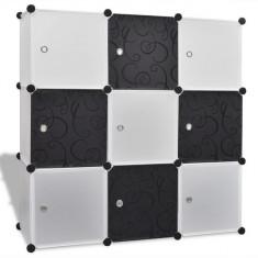 Dulap modular cub cu 9 compartimente 110 x 37 x 110 cm, alb-negru