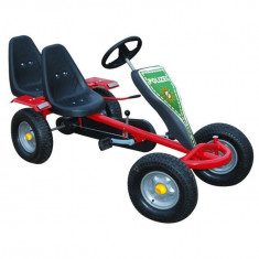 Kart pentru copii cu pedale, două locuri și 2 autocolante, Roșu - Kart cu pedale