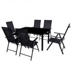 Set mobilier de exterior din șapte piese, aluminiu, negru - accesoriu mobila