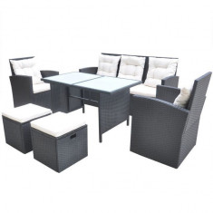 Set mobilier de exterior din poliratan, 18 piese, negru - accesoriu mobila