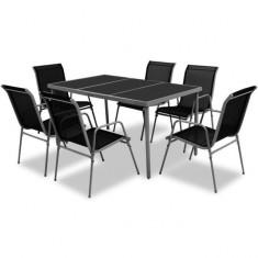 Set mobilier de exterior din șapte piese, negru - accesoriu mobila