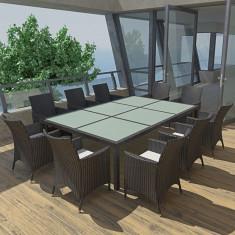Set mobilier de grădină din poliratan, Negru - Set gradina