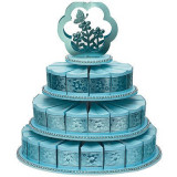 3 rangurilor tort Stand cu 48 tort felie Cutii Albastru - Marturii nunta