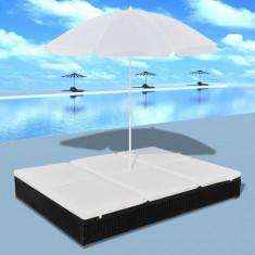 Mobilier de lux pentru exterior cu umbrelă, Negru - Dulap baie