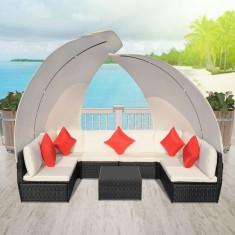 Set canapea de exterior din poliratan cu baldachine, negru - Husa pat