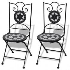 Set de 2 scaune din mozaic, culoare negru și alb - Scaun gradina