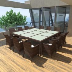 Set mobilier de grădină din poliratan, Maro - Set gradina