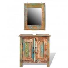 Set Dulap din Lemn Reciclat cu Oglindă - Set mobila living