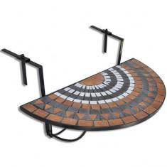 Masă suspendată pliabilă pentru balcon semi-circulară, Roșu-oranj-Alb - Masa gradina
