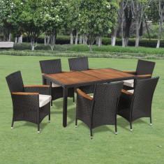 Set mobilier de grădină din ratan cu 6 scaune si masa cu blat de lemn - Set mobilier baie