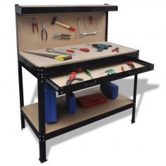 Banc de lucru cu panou perforat și sertar