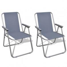Set scaune pliabile de camping, Gri - Vesela camping