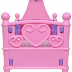Pat de jucărie păpuși pentru camera de joacă a copiilor, roz + violet - Cuvertura pat