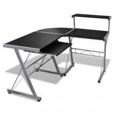 Birou computer cu poliță glisantă + suprafață pentru scris, Negru