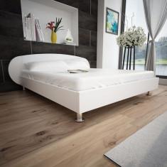 Pat tapițat cu piele artificială, 180 x 200 cm, Alb - Cuvertura pat
