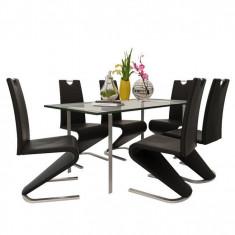 Set 6 scaune cantilever piele artificială, picior în formă de U, negru - Masa bucatarie