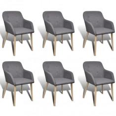Scaun de masă de Interior Lemn de Stejar și Stofă cu Cotiere Gri 6 buc - Scaun masaj