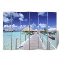 Paravan cameră cu desen printat plajă, 240 x 180 cm