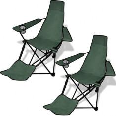 Set de 2 scaune pliabile camping, suport pentru picioare, verde închis - Mobilier camping