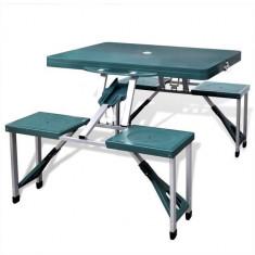 Set pliabil camping cu masă și 4 scaune din aluminiu ușor, verde - Vesela camping