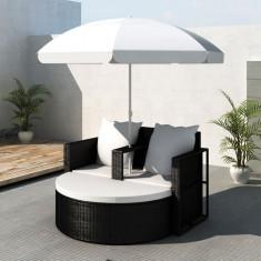 Mobilier grădină din poliratan cu parasolar, Negru - Mobila terasa gradina