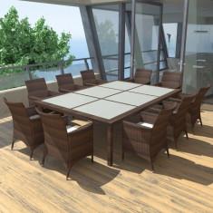 Set mobilier de exterior din poliratan, maro - accesoriu mobila