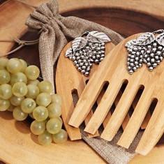 Bamboo Set rustic servere Salata cu un design struguri - Stylus tableta