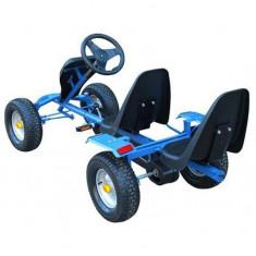 Kart pentru copii cu pedale și 2 scaune Albastru - Masinuta electrica copii