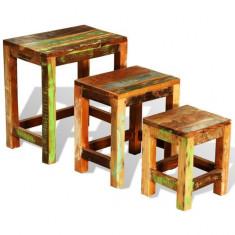 Set de 3 mese în stil vintage din lemn reciclat - Masa living