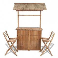 Set bar din lemn de bambus 2 scaune bar+1 masă - Set mobila living