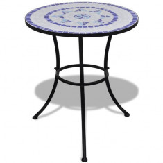Masă cu blat mozaic 60 cm Alb/Albastru - Masa gradina