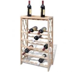 Suport din Lemn cu Rafturi pentru Vin 25 Sticle - Suport sticla vin