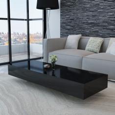 Masă Cafea Negru Lăcuită 115 cm - Masa living