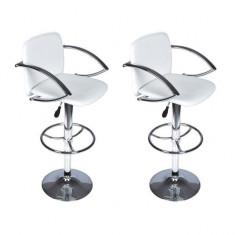 Set scaune bar cu spătar și suport brațe, Alb - Set mobila living