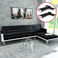 Canapea extensibilă reglabilă în formă de L, negru + alb