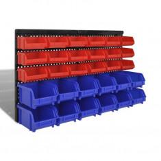 Set organizator plastic garaj, montare perete, 30 buc, albastru-roșu