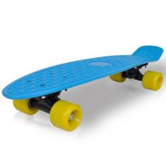 Skateboard retro cu placă albastră și roți galbene