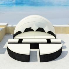 Set mobilier de exterior cu baldachin din poliratan 2-în-1 Negru - accesoriu mobila