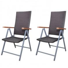 Set 2 scaune grădină din poliratan cu cadru din aluminiu, Maro - Scaun gradina