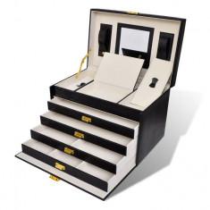 Cutie de bijuterii cu 4 sertare și oglindă - Cutie Bijuterii
