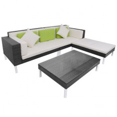 Set canapea de grădină din poliratan 17 piese, negru - Husa pat