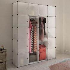 Dulap modular cu 14 compartimente, alb, 37 x 150 x 190 cm