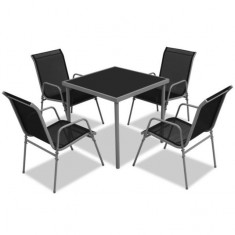 Set masă de exterior din cinci piese, negru