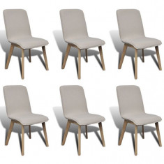 Set 6 scaune de interior din lemn de stejar și stofă, Gri deschis - Scaune sport