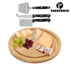 Set Tocător și Cuțite pentru Brânzeturi din Bambus (4 piese) - Vioara