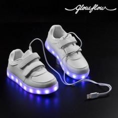 Adidași cu LED pentru Copii GlowFlow Kids - Adidasi copii, Alb