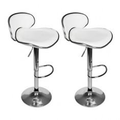 Set scaune bar cu spătar și suport pentru picioare, Alb - Set mobila living