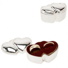 Sophia silverplated Ring Box - Inimi duble - Peruca Dama