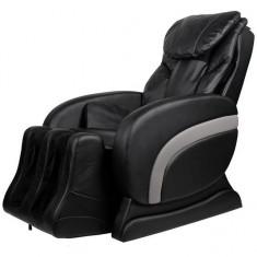 Fotoliu de masaj electric, rabatabil, din piele artificială, negru - Scaun masaj