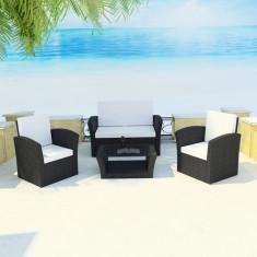 Set mobilier de exterior din poliratan Negru - accesoriu mobila